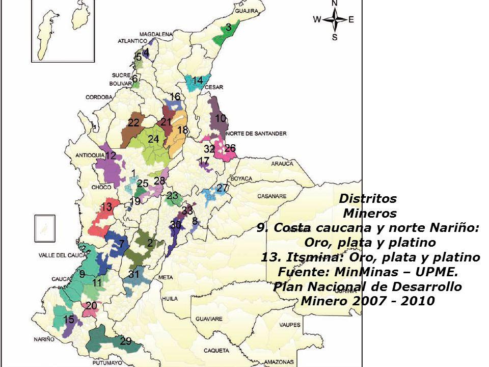 9. Costa caucana y norte Nariño: Oro, plata y platino