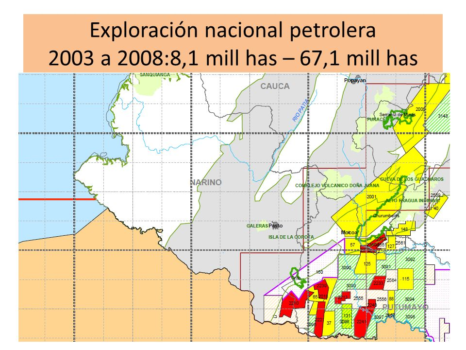 Exploración nacional petrolera 2003 a 2008:8,1 mill has – 67,1 mill has