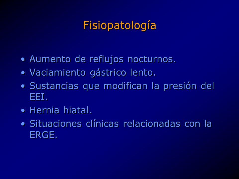 Fisiopatología Aumento de reflujos nocturnos.