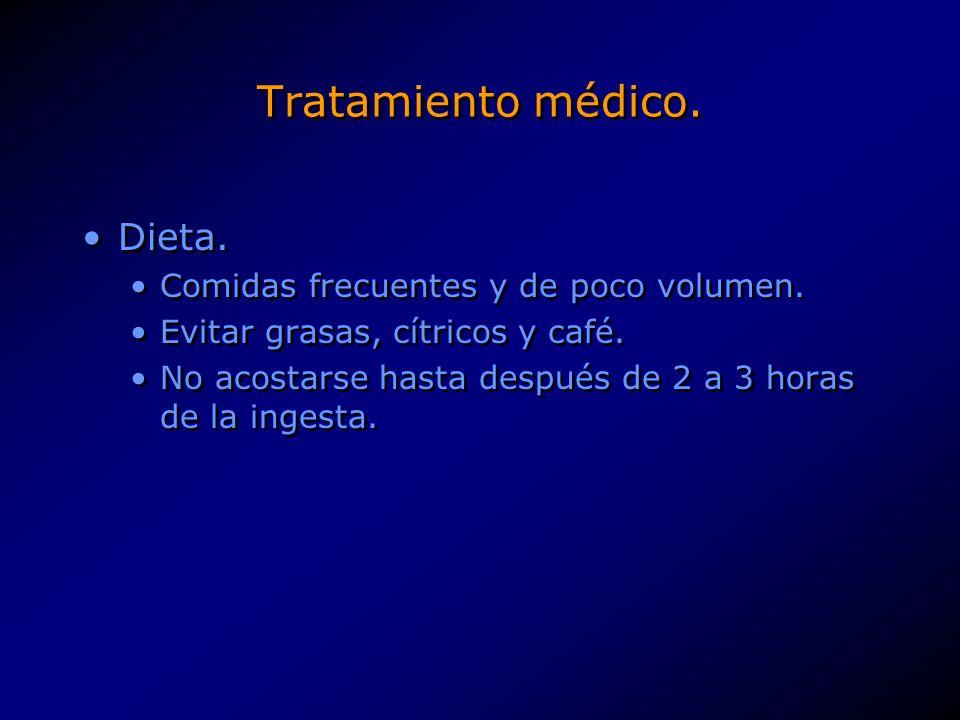 Tratamiento médico. Dieta. Comidas frecuentes y de poco volumen.