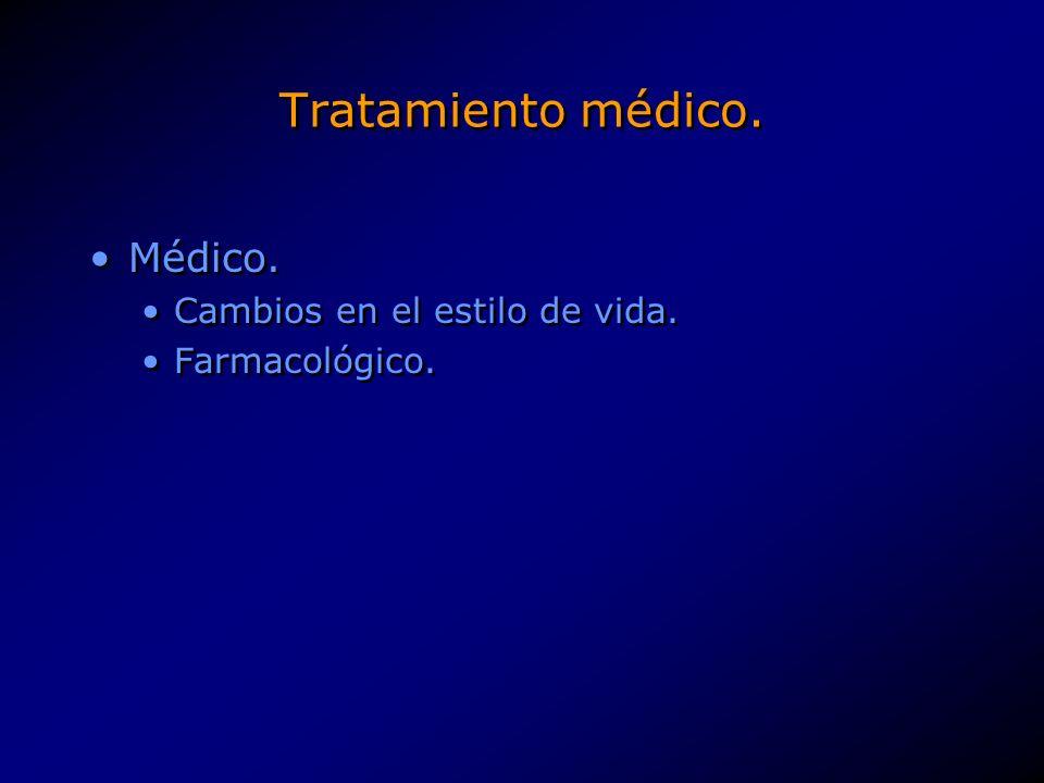 Tratamiento médico. Médico. Cambios en el estilo de vida.