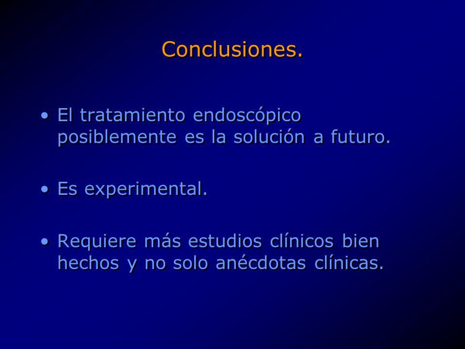 Conclusiones. El tratamiento endoscópico posiblemente es la solución a futuro. Es experimental.
