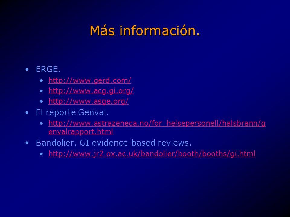 Más información. ERGE. El reporte Genval.