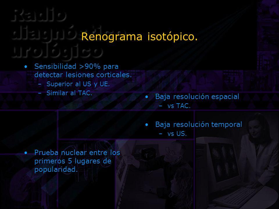 Renograma isotópico.Sensibilidad >90% para detectar lesiones corticales. Superior al US y UE. Similar al TAC.