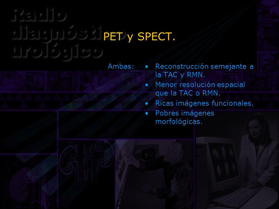 PET y SPECT. Ambas: Reconstrucción semejante a la TAC y RMN.