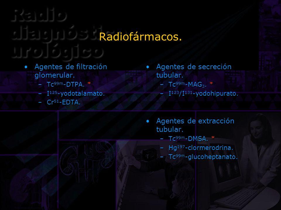 Radiofármacos. Agentes de filtración glomerular.