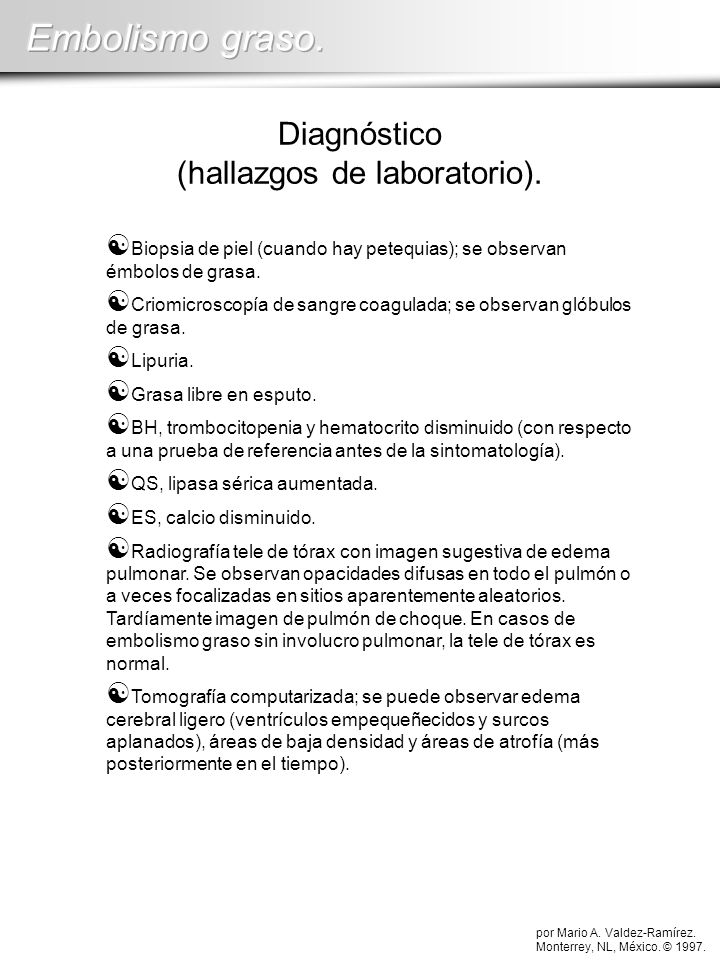 Diagnóstico (hallazgos de laboratorio).