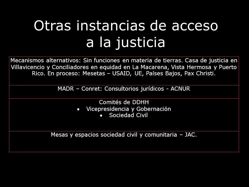 Otras instancias de acceso a la justicia