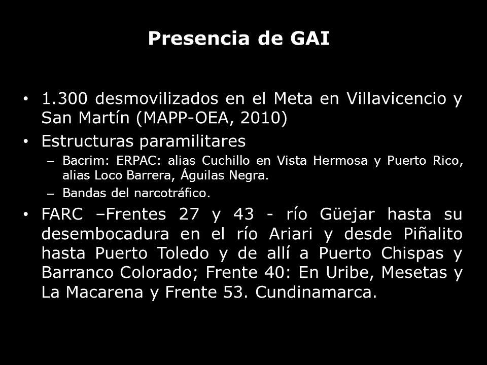 Presencia de GAI 1.300 desmovilizados en el Meta en Villavicencio y San Martín (MAPP-OEA, 2010) Estructuras paramilitares.