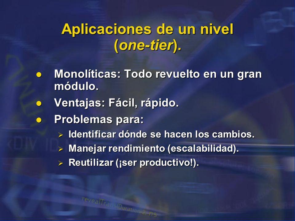 Aplicaciones de un nivel (one-tier).