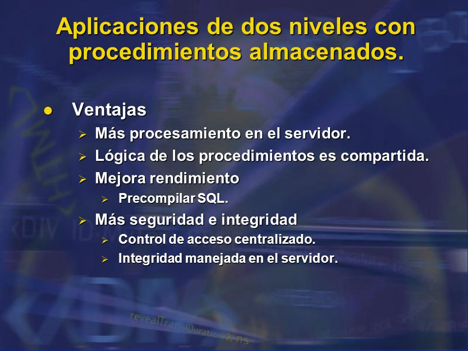 Aplicaciones de dos niveles con procedimientos almacenados.