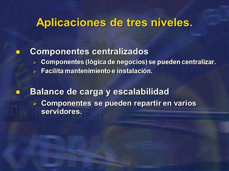 Aplicaciones de tres niveles.