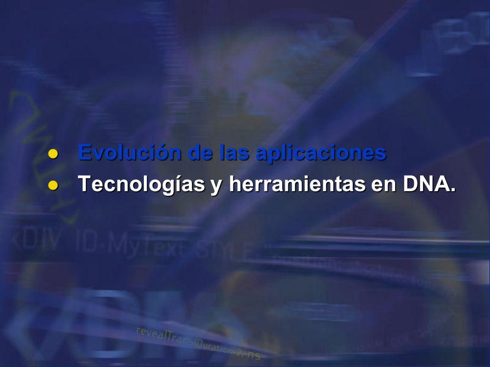Evolución de las aplicaciones Tecnologías y herramientas en DNA.