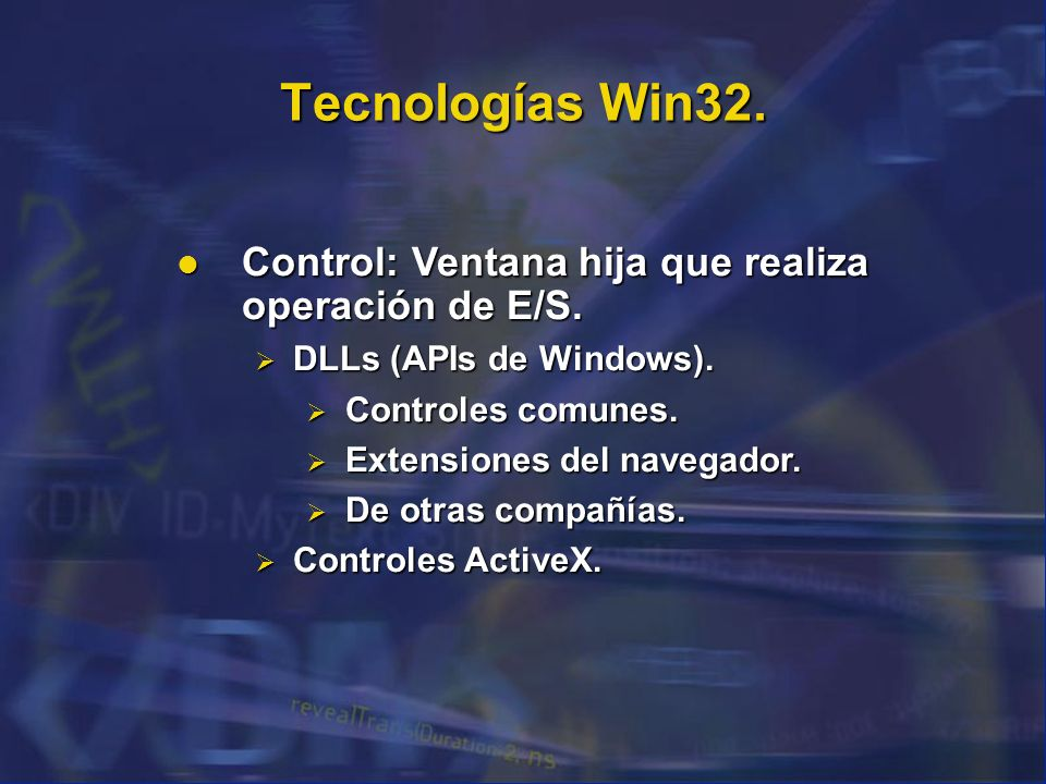 Tecnologías Win32. Control: Ventana hija que realiza operación de E/S.