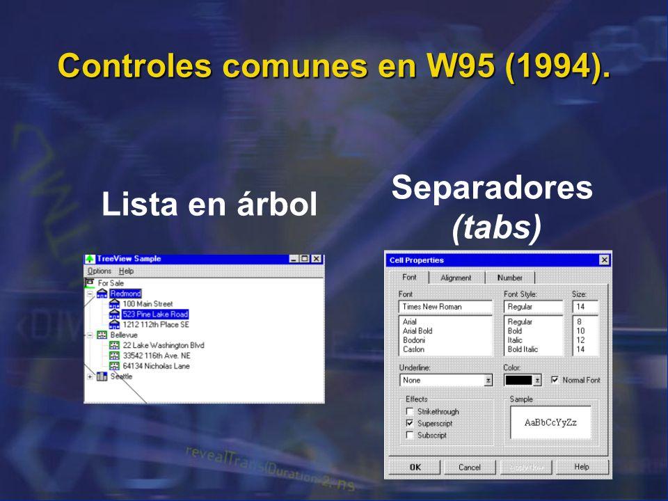 Controles comunes en W95 (1994).