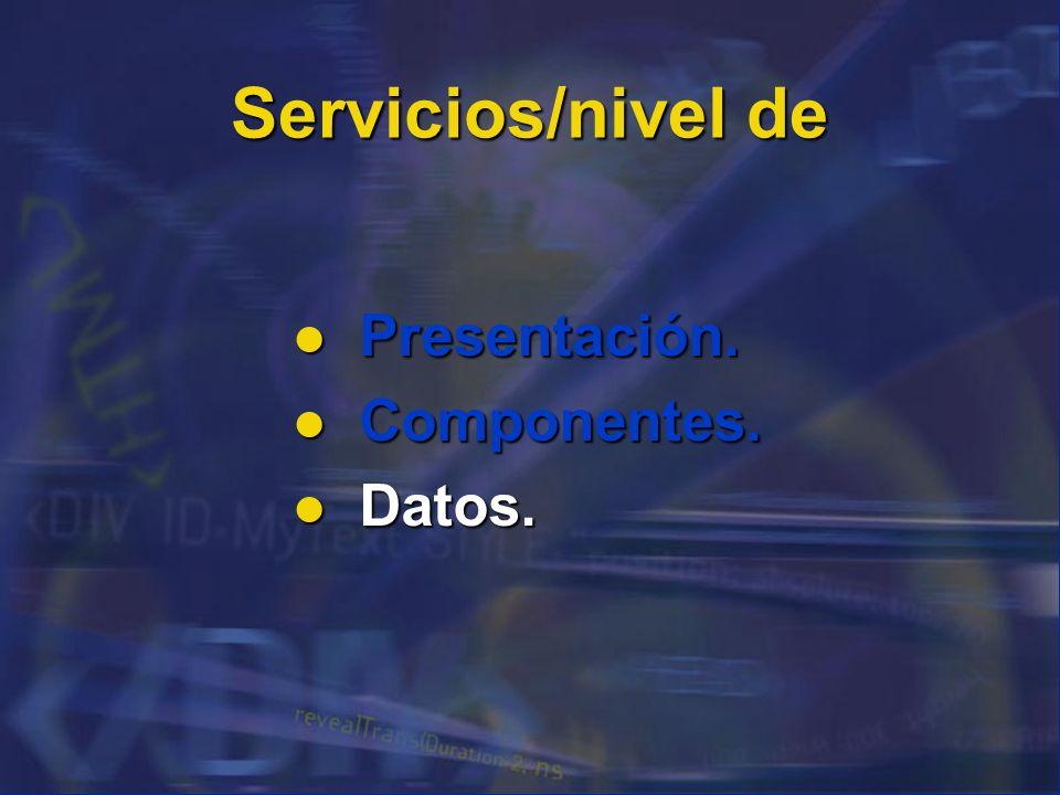 Servicios/nivel de Presentación. Componentes. Datos. 74