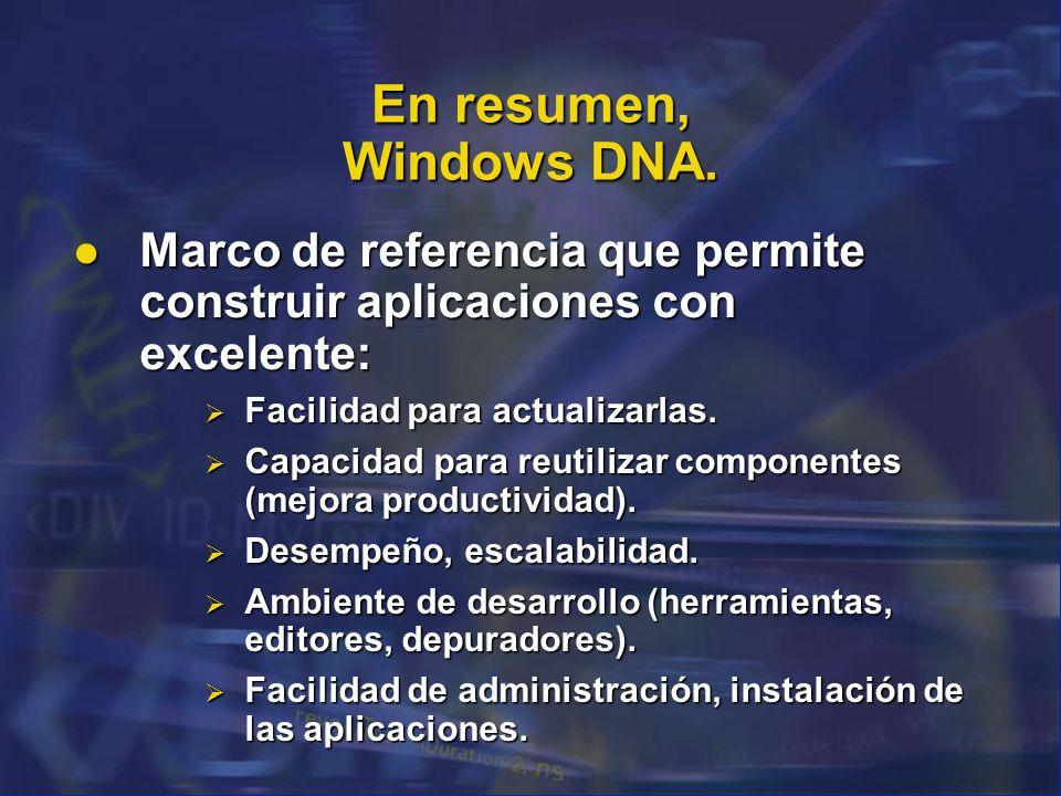 En resumen, Windows DNA. Marco de referencia que permite construir aplicaciones con excelente: Facilidad para actualizarlas.