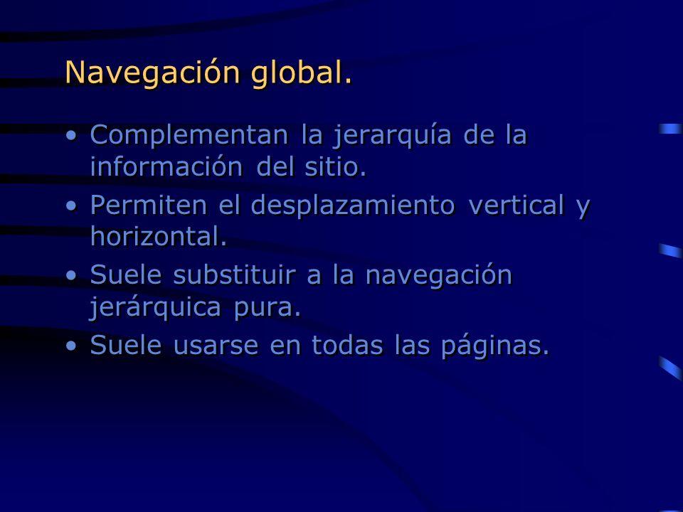 Navegación global. Complementan la jerarquía de la información del sitio. Permiten el desplazamiento vertical y horizontal.