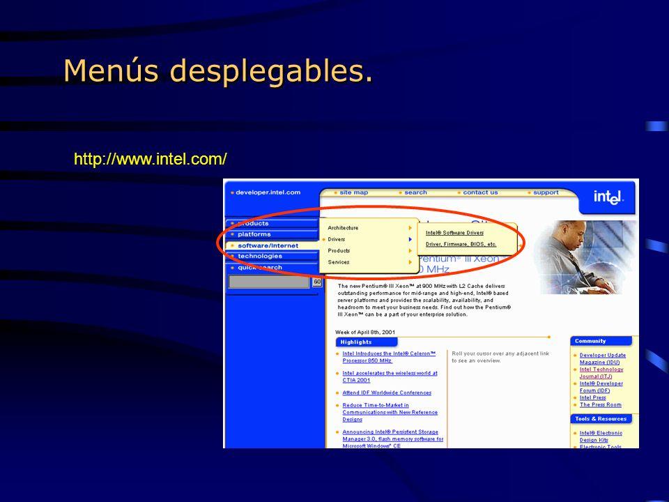 Menús desplegables. http://www.intel.com/