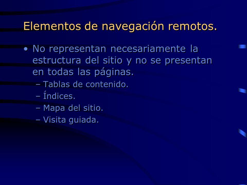 Elementos de navegación remotos.