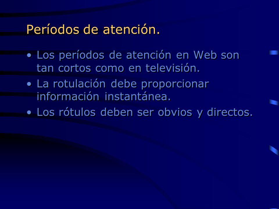Períodos de atención.Los períodos de atención en Web son tan cortos como en televisión. La rotulación debe proporcionar información instantánea.