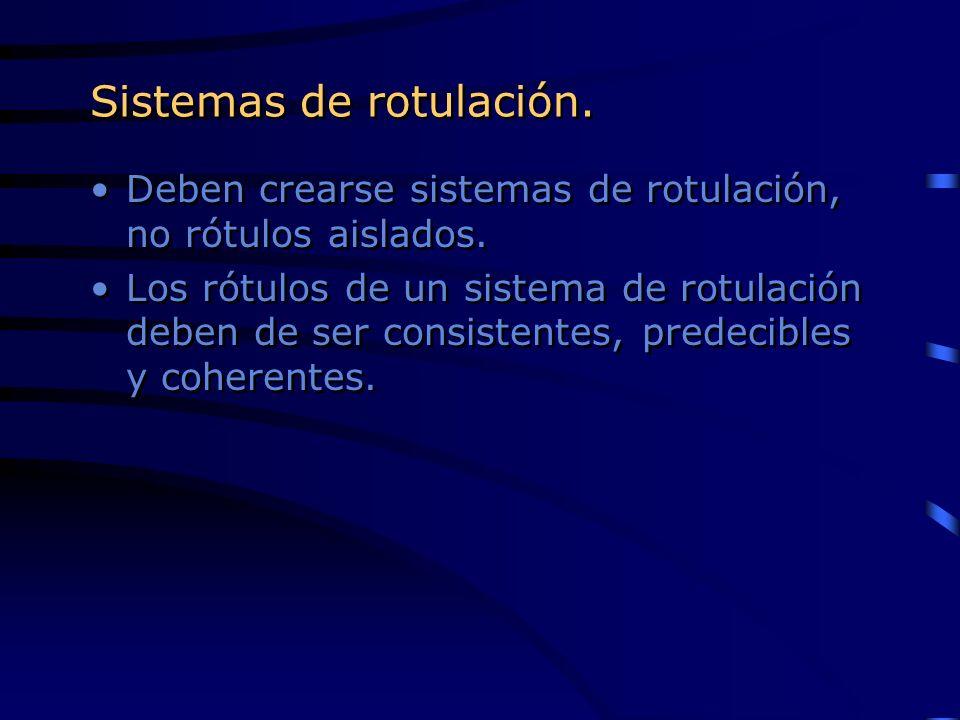 Sistemas de rotulación.