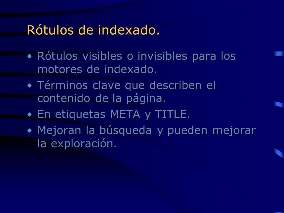 Rótulos de indexado.Rótulos visibles o invisibles para los motores de indexado. Términos clave que describen el contenido de la página.