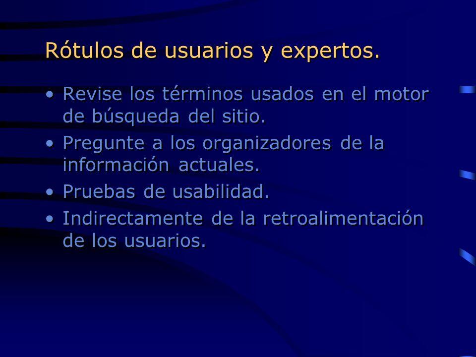Rótulos de usuarios y expertos.