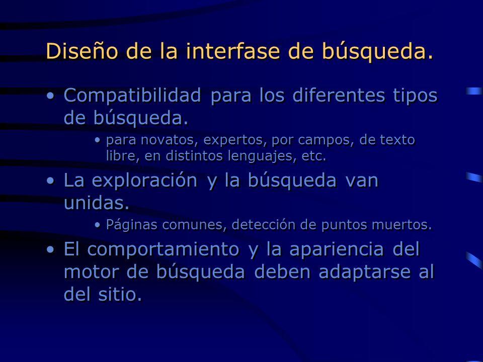 Diseño de la interfase de búsqueda.