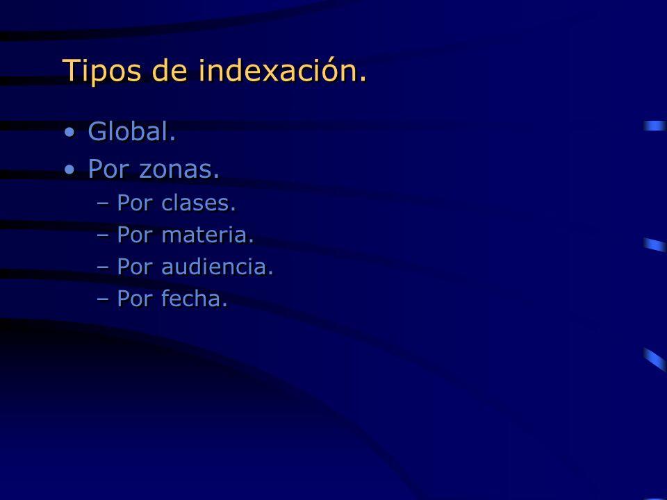 Tipos de indexación. Global. Por zonas. Por clases. Por materia.