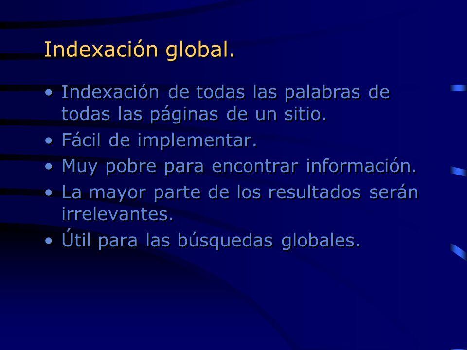 Indexación global.Indexación de todas las palabras de todas las páginas de un sitio. Fácil de implementar.