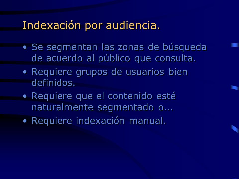 Indexación por audiencia.