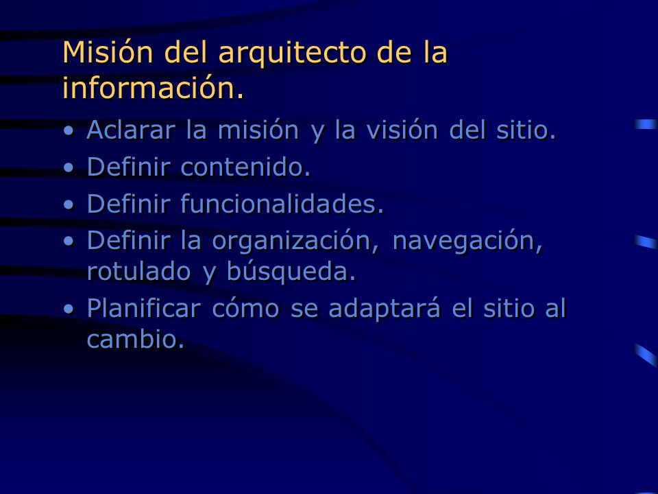 Misión del arquitecto de la información.