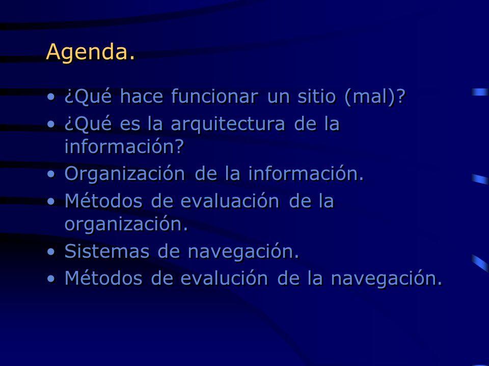 Agenda. ¿Qué hace funcionar un sitio (mal)