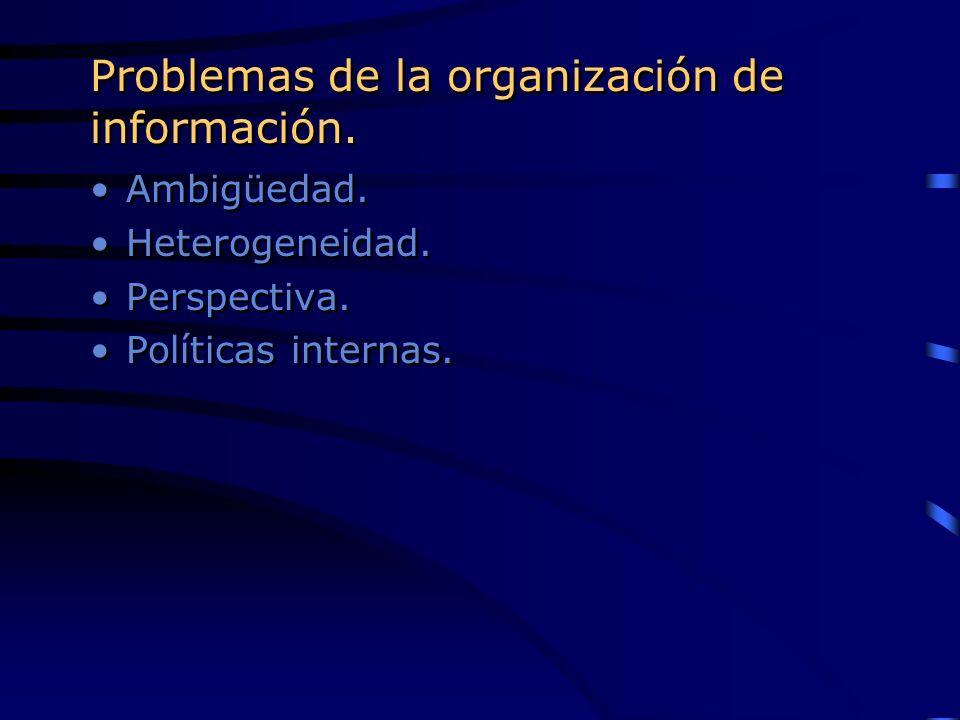 Problemas de la organización de información.