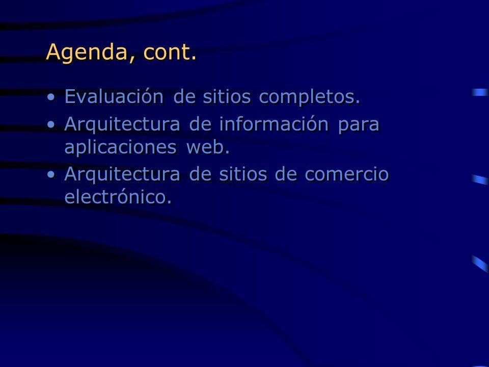 Agenda, cont. Evaluación de sitios completos.