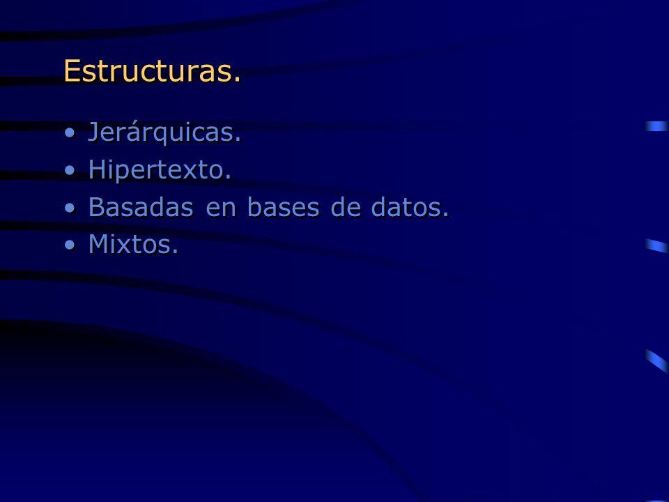Estructuras. Jerárquicas. Hipertexto. Basadas en bases de datos.