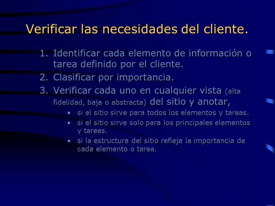 Verificar las necesidades del cliente.