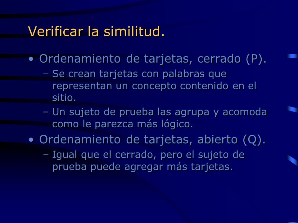 Verificar la similitud.