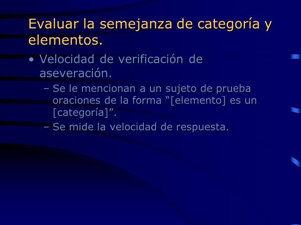 Evaluar la semejanza de categoría y elementos.