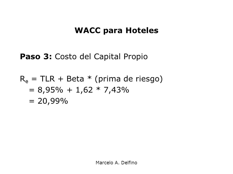 Paso 3: Costo del Capital Propio Re = TLR + Beta * (prima de riesgo)