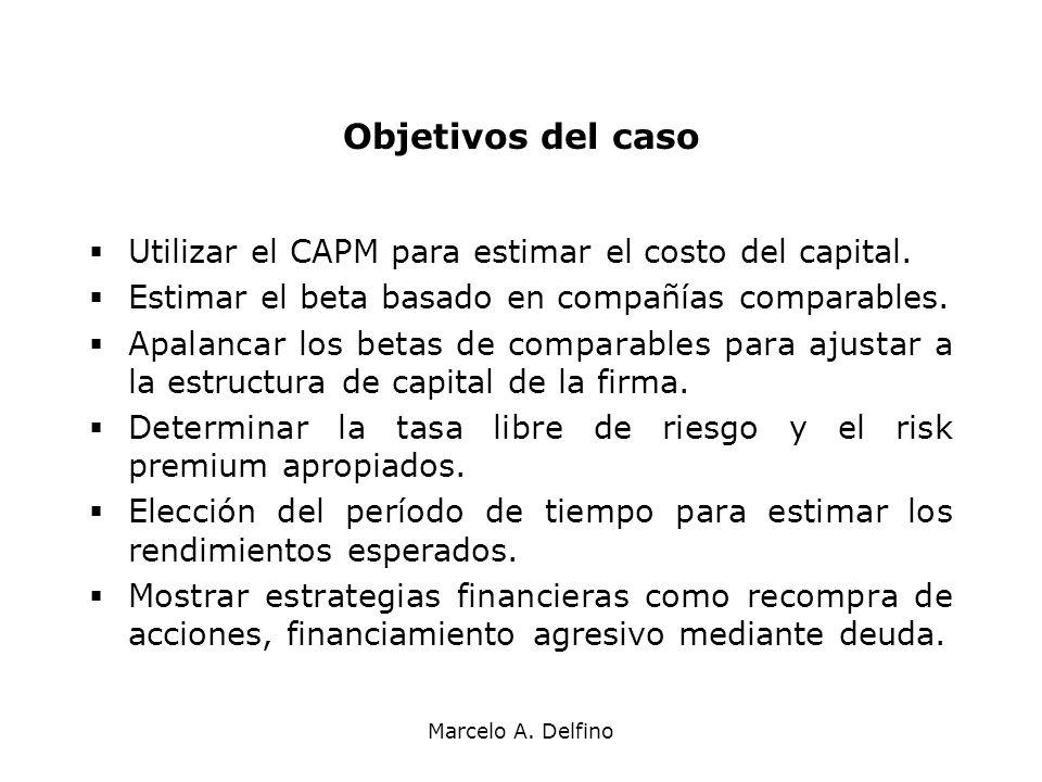 Objetivos del caso Utilizar el CAPM para estimar el costo del capital.