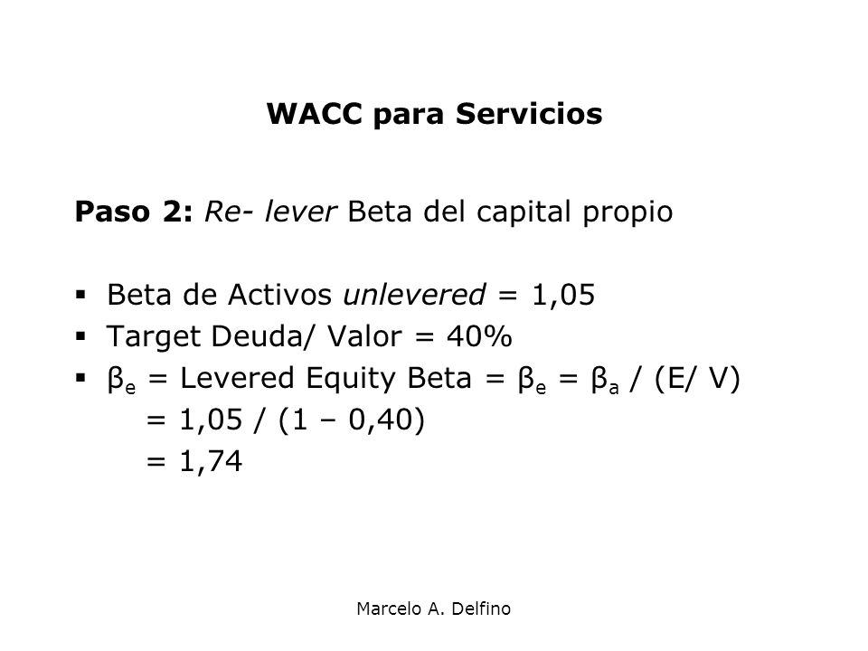Paso 2: Re- lever Beta del capital propio