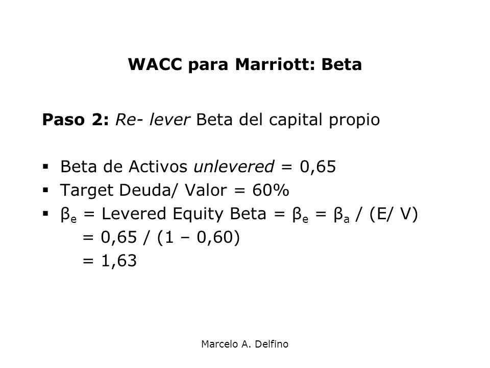 WACC para Marriott: Beta