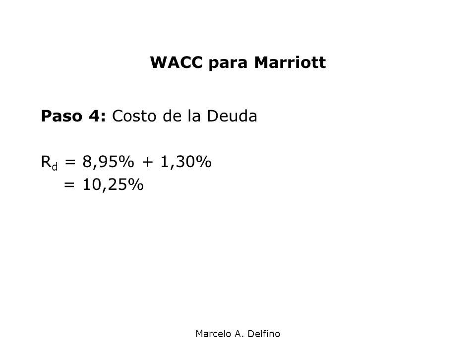 WACC para Marriott Paso 4: Costo de la Deuda Rd = 8,95% + 1,30%