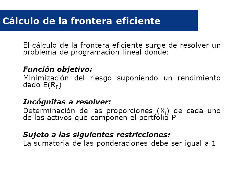 Cálculo de la frontera eficiente