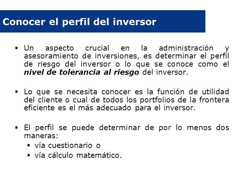 Conocer el perfil del inversor