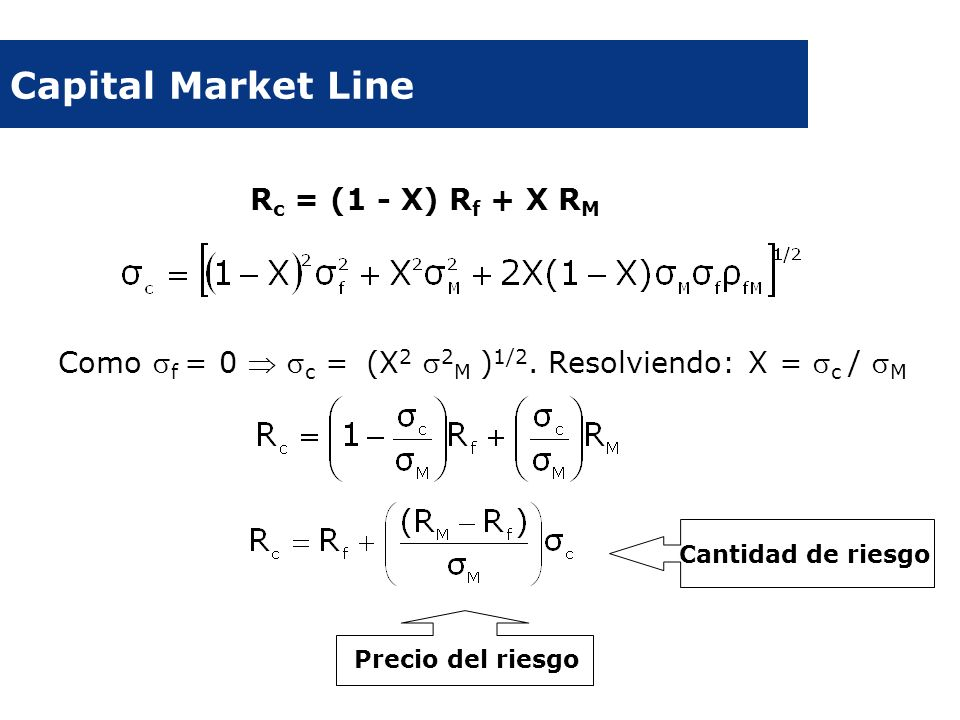 Capital Market Line Rc = (1 - X) Rf + X RM