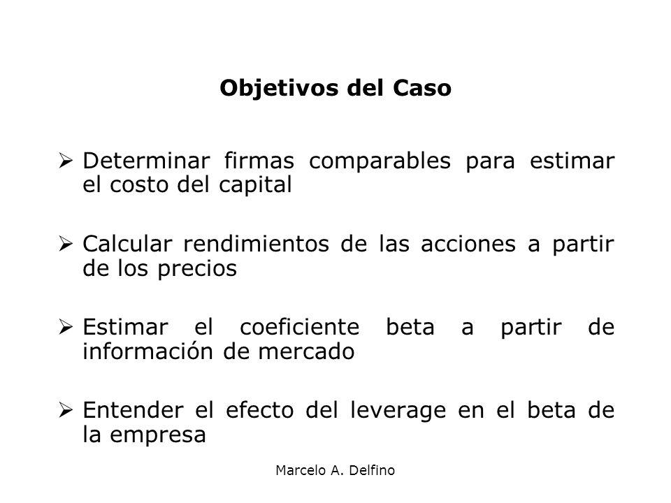 Determinar firmas comparables para estimar el costo del capital