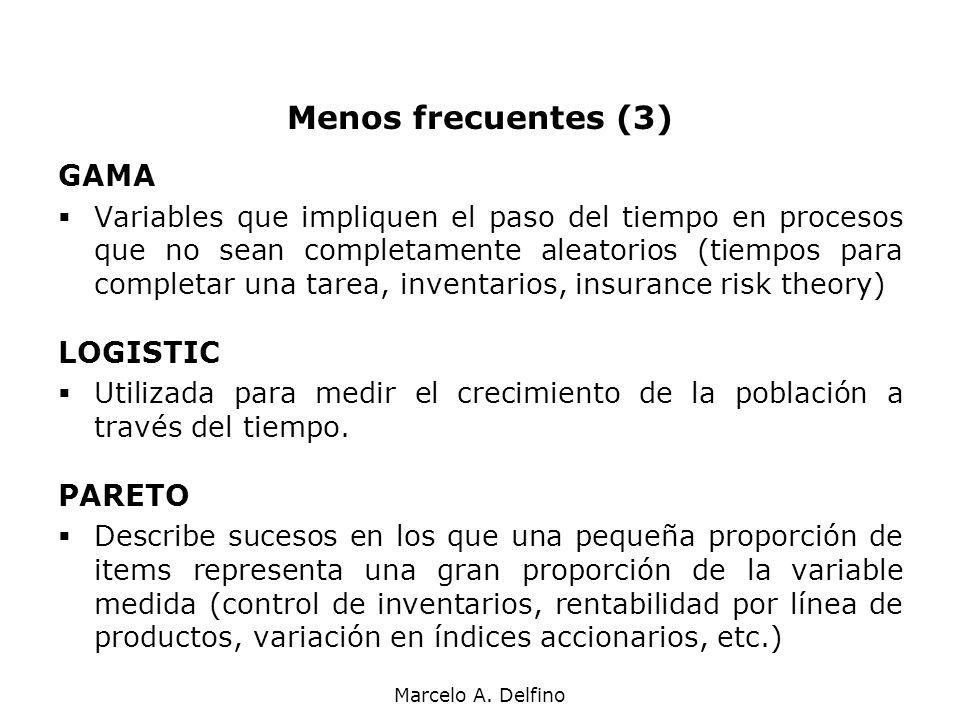 Menos frecuentes (3) GAMA LOGISTIC PARETO